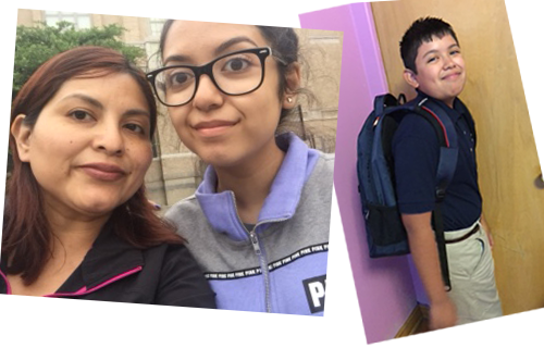 Mrs. Castrejon with her daugher, and her son on his first day of school 2016